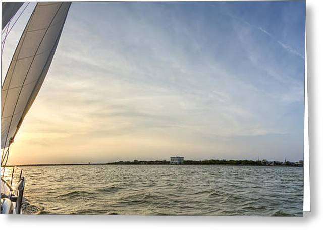 Blue Sailboat Greeting Cards - Sailing Sunset Charleston SC Beneteau 49  Greeting Card by Dustin K Ryan