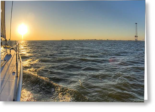 Charters Greeting Cards - Sailing Sunset Greeting Card by Dustin K Ryan