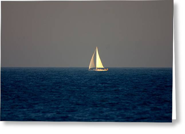 Sailboat Ocean Greeting Cards - Sailing the Blue Greeting Card by Brad Scott