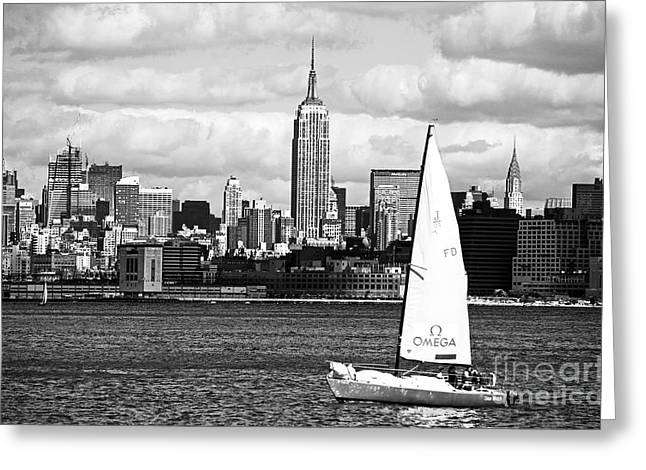 Sailing the New York Harbor Greeting Card by John Rizzuto