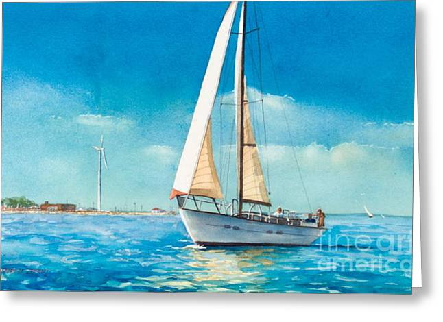 Hull Ma Greeting Cards - Sailing Through the Gut Greeting Card by Laura Lee Zanghetti