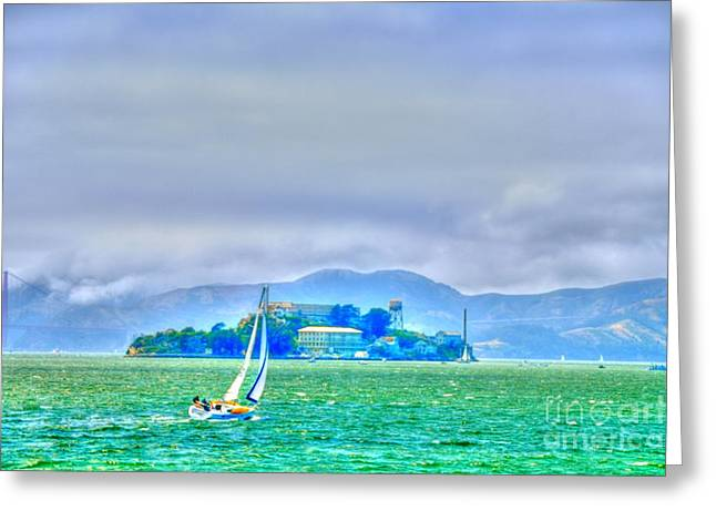 Alcatraz Digital Greeting Cards - Sailing to Alcatraz Greeting Card by Alberta Brown Buller
