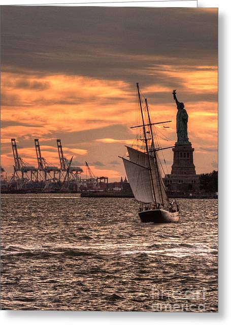 Staten Island Ferry Greeting Cards - Sailing to Liberty  Greeting Card by Rob Hawkins