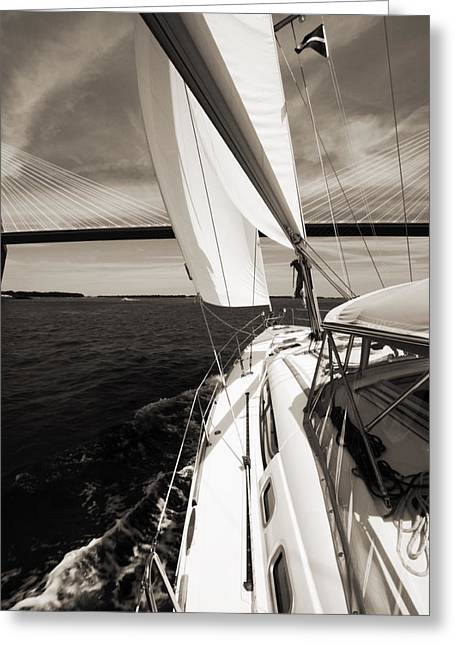 Ravenel Greeting Cards - Sailing Under the Arthur Ravenel Jr. Bridge in Charleston SC Greeting Card by Dustin K Ryan
