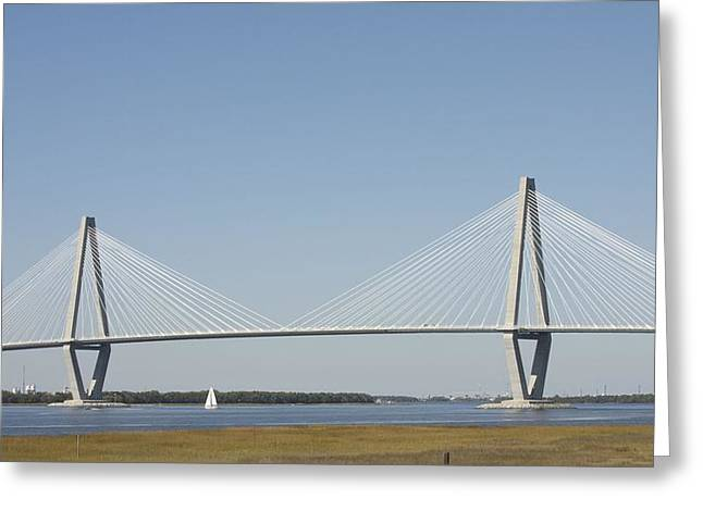 Bonnes Eyes Fine Art Photography Greeting Cards - Sailing Under the Big Bridge Greeting Card by Bonnes Eyes Fine Art Photography