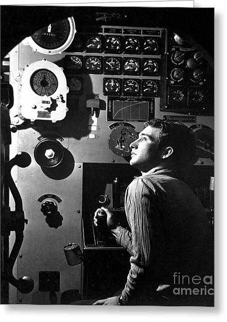 Control Center Greeting Cards - Sailor At Work In The Electric Engine Greeting Card by Stocktrek Images