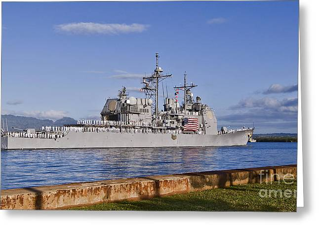 Hickam Greeting Cards - Sailors Aboard The Guided-missile Greeting Card by Stocktrek Images