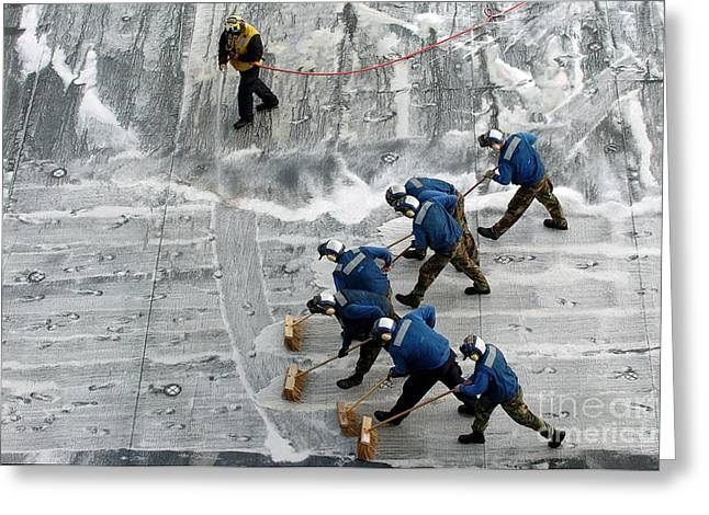 Scrubbing Greeting Cards - Sailors Conduct A Scrub Exercise Greeting Card by Stocktrek Images