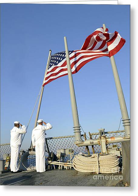 Cole Greeting Cards - Sailors Conduct Morning Colors Aboard Greeting Card by Stocktrek Images
