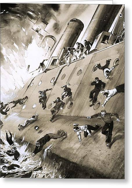 Panic Greeting Cards - Sailors Escaping HMS Natal which Caught Fire in Cromerty Firth in 1915 Greeting Card by English School