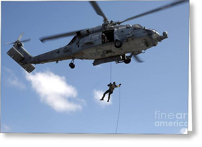 Fast Rope Greeting Cards - Sailors Fast Rope From An Hh-60h Greeting Card by Stocktrek Images