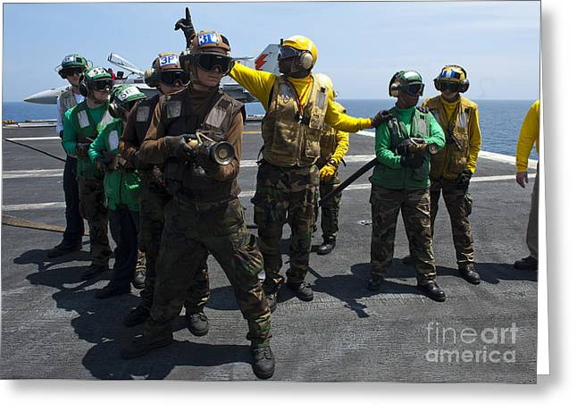 Sailors Fight A Simulated Fire Drill Greeting Card by Stocktrek Images
