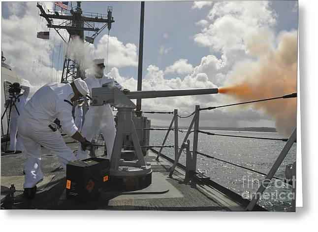 40mm Greeting Cards - Sailors Fire The 40mm Saluting Battery Greeting Card by Stocktrek Images