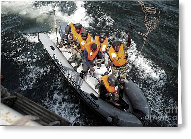 Inflatable Raft Greeting Cards - Sailors From The Senegalese Navy Greeting Card by Stocktrek Images