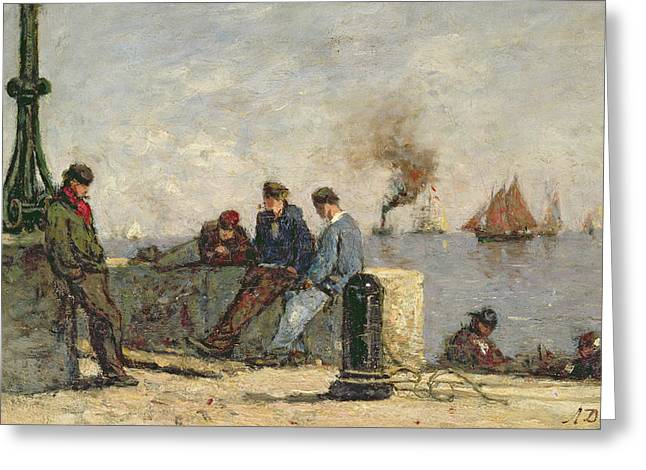 Sailors Greeting Card by Louis Alexandre Dubourg
