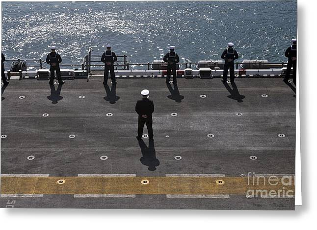 Lines Of The Hands Greeting Cards - Sailors Man The Rails On The Amphibious Greeting Card by Stocktrek Images