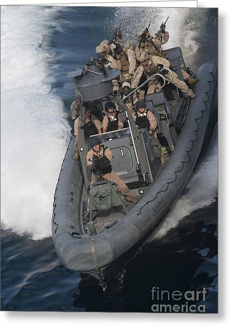 Inflatable Greeting Cards - Sailors Operate A Rigid-hull Inflatable Greeting Card by Stocktrek Images