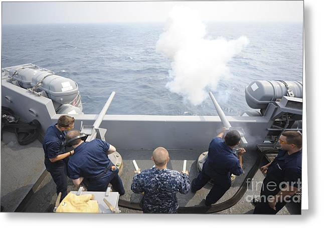 July 4th Image Greeting Cards - Sailors Perform A 21-gun Salute Aboard Greeting Card by Stocktrek Images
