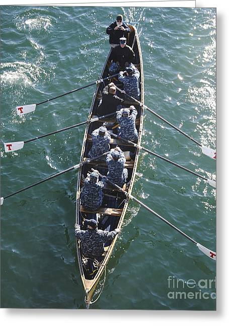 Physical Skill Greeting Cards - Sailors Practice Rowing Skills Greeting Card by Stocktrek Images