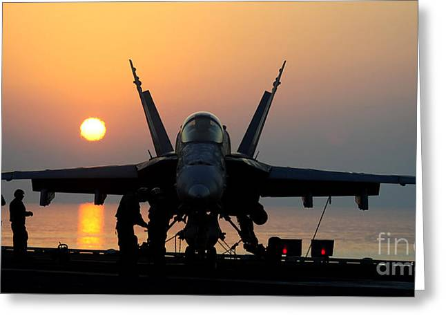 Flight Operations Photographs Greeting Cards - Sailors Prepare An Fa-18c Hornet Greeting Card by Stocktrek Images