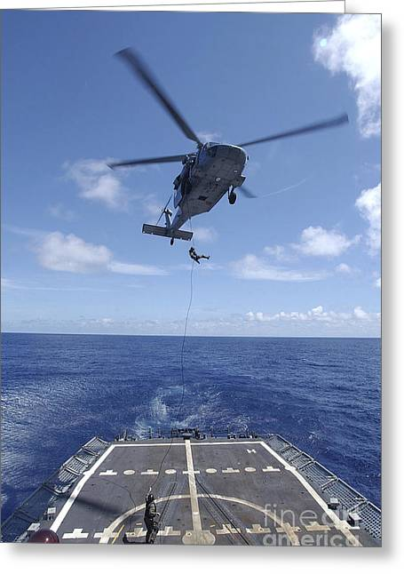 Rappel Greeting Cards - Sailors Rappel From An Mh-60s Greeting Card by Stocktrek Images
