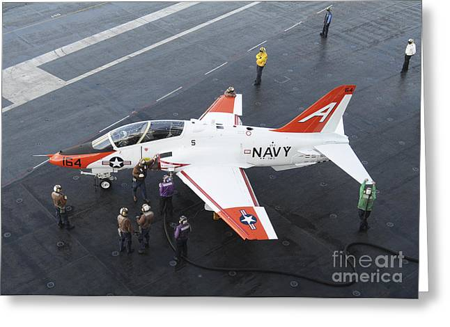 Trainer Aircraft Greeting Cards - Sailors Refuel A T-45 Goshawk Greeting Card by Stocktrek Images