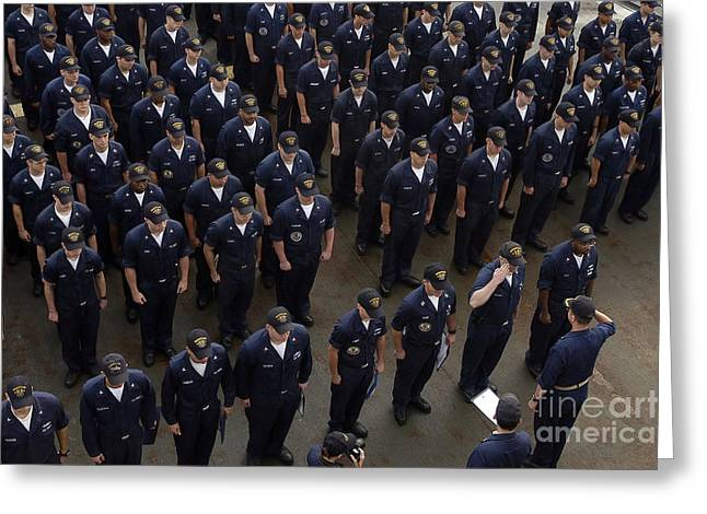 Sailors Stand At Attention During An Greeting Card by Stocktrek Images