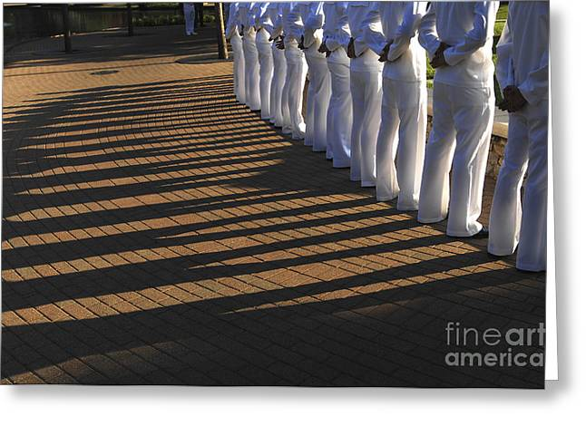 Low Section Greeting Cards - Sailors Stand At Parade Rest Greeting Card by Stocktrek Images