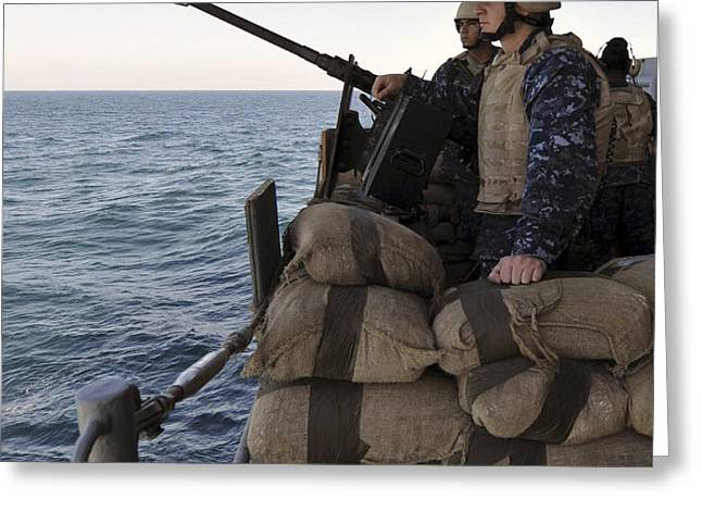 Sailors Stand Small Caliber Attack Team Greeting Card by Stocktrek Images