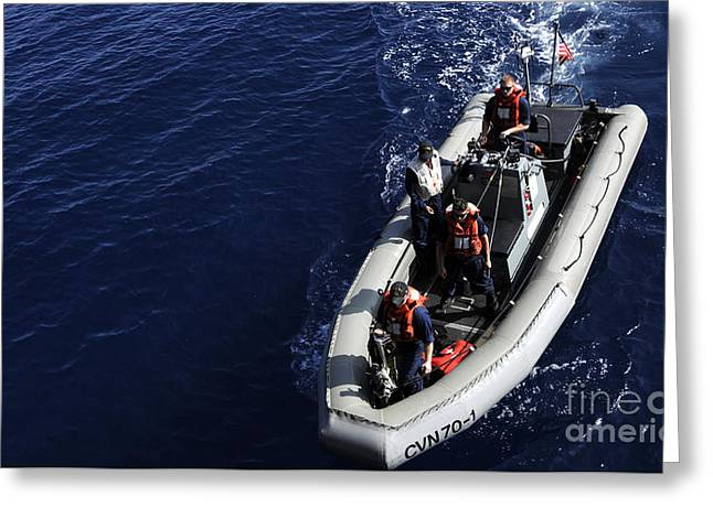 Inflatable Raft Greeting Cards - Sailors Stand Watch On A Rigid-hull Greeting Card by Stocktrek Images
