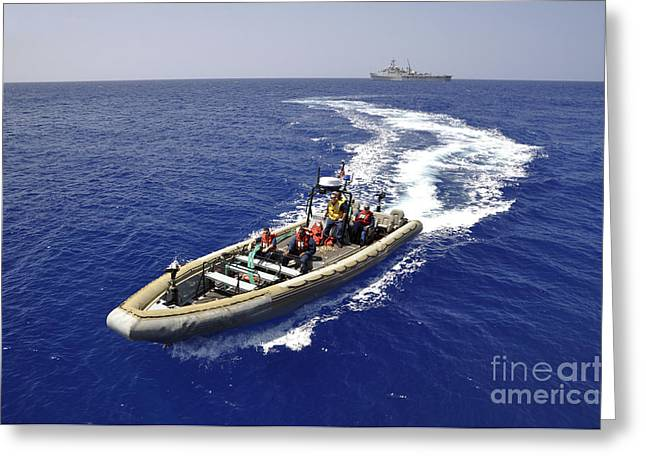 Inflatable Boats Greeting Cards - Sailors Transit An Inflatable Boat Greeting Card by Stocktrek Images