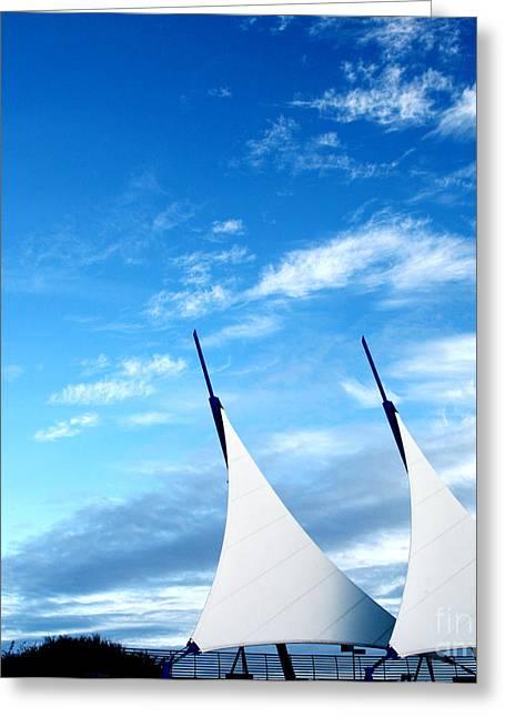 Installation Art Greeting Cards - sails at Cardiff Bay Greeting Card by Susan Wall