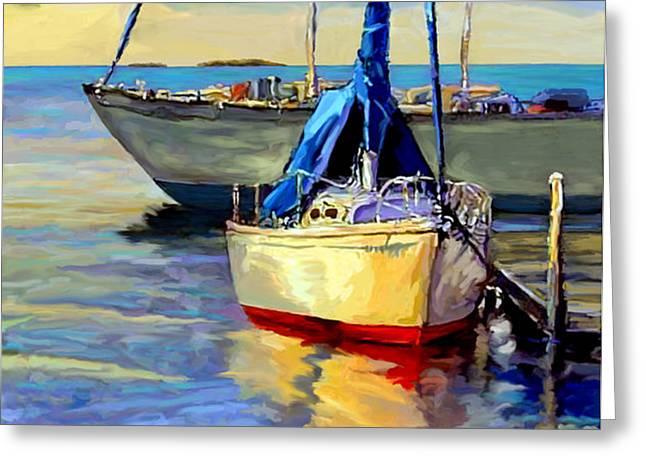 Sailboats Docked Mixed Media Greeting Cards - Sails at Rest Greeting Card by David  Van Hulst