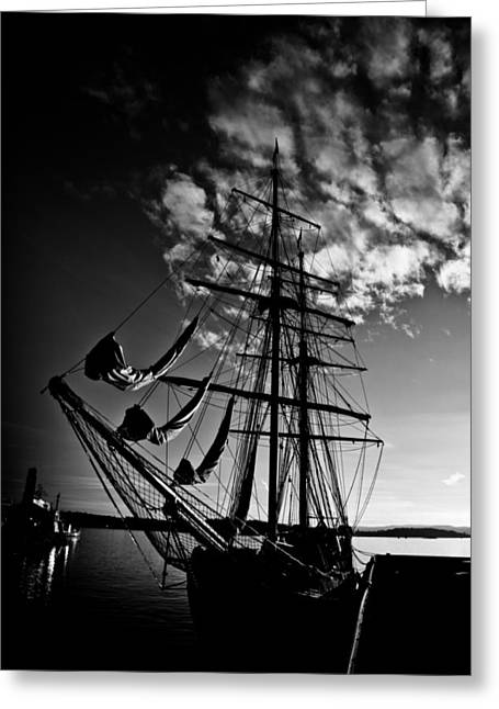 Norwegian Sunset Greeting Cards - Sails in the Sunset Greeting Card by Hakon Soreide