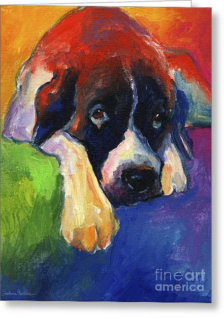 Sad Eyes Greeting Cards - Saint Bernard Dog colorful portrait painting print Greeting Card by Svetlana Novikova