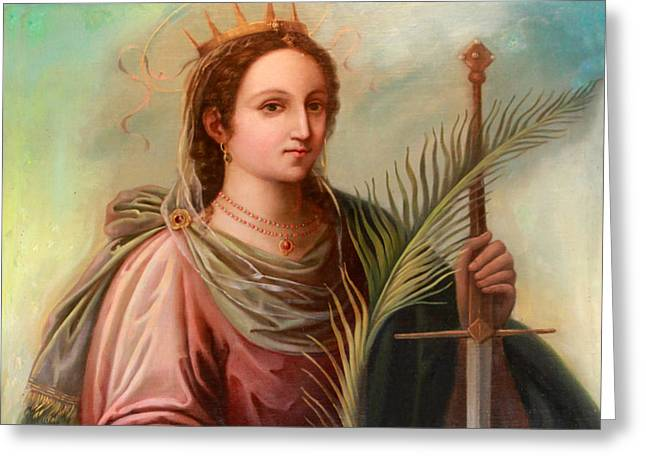 Saint Catherine Greeting Cards - Saint Catherine of Alexandria Painting Greeting Card by Munir Alawi