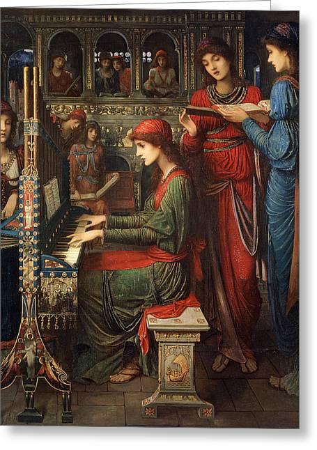 1849 Greeting Cards - Saint Cecilia Greeting Card by John Melhuish Strudwick