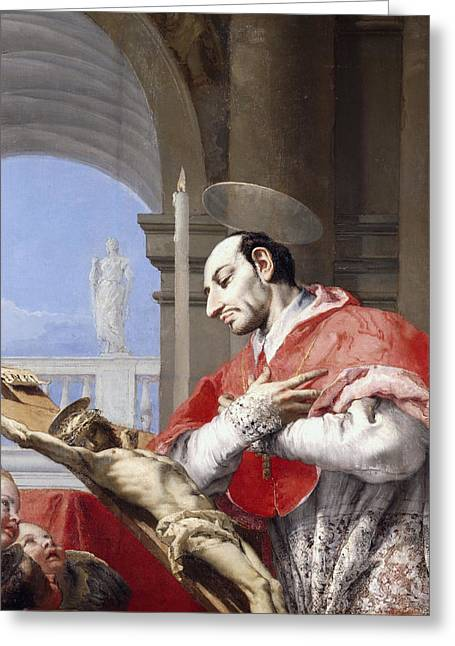 Saint Charles Borromeo Greeting Card by Giovanni Battista Tiepolo