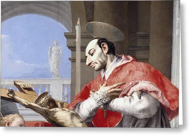Saint Charles Borromeo Greeting Card by Giovanni Battista Tiepolo