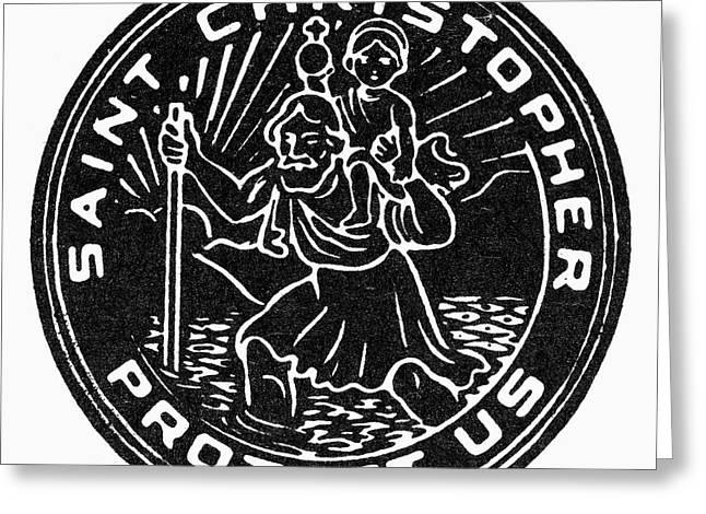 SAINT CHRISTOPHER MEDAL Greeting Card by Granger