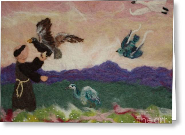Eagle Tapestries - Textiles Greeting Cards - Saint Francis and the Birds Greeting Card by Nicole Besack