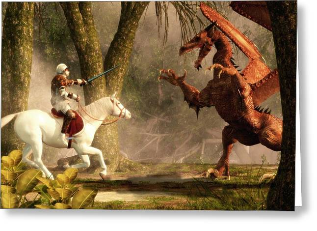 Saint George And The Dragon Greeting Card by Daniel Eskridge