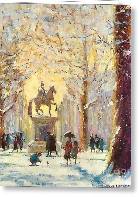 Recently Sold -  - Christmas Eve Greeting Cards - Saint James Square London...a friendly robin Greeting Card by Jeanette Leuers