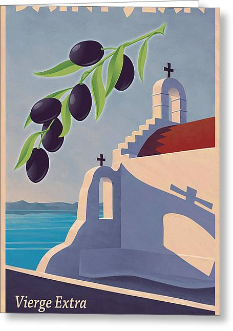 1930s Decor Greeting Cards - Saint Jean Olive Oil Greeting Card by Mitch Frey