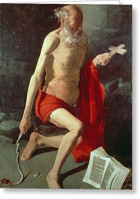 Martyrs Greeting Cards - Saint Jerome Greeting Card by Georges de la Tour
