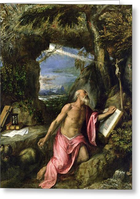 Animals Love Greeting Cards - Saint Jerome Greeting Card by Titian