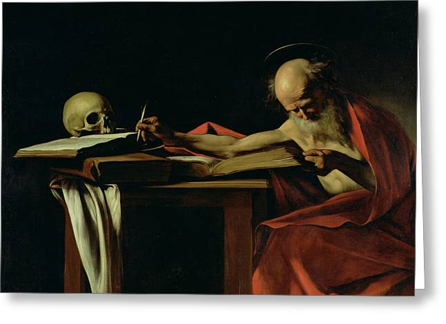 Literature Greeting Cards - Saint Jerome Writing Greeting Card by Caravaggio