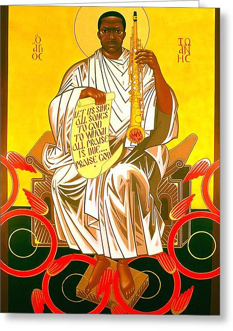 Saint Paintings Greeting Cards - Saint John Coltrane Enthroned Greeting Card by Mark Dukes