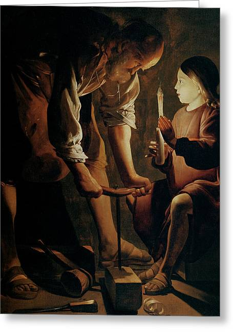 Son Greeting Cards - Saint Joseph the Carpenter  Greeting Card by Georges de la Tour