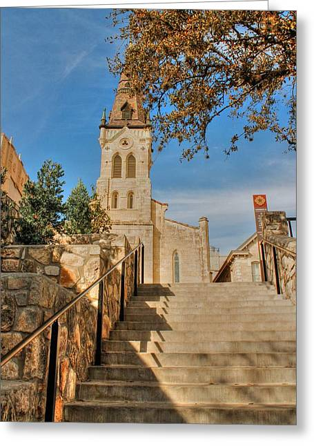 Saint Joseph Greeting Cards - Saint Josephs Steps Greeting Card by Sarah Broadmeadow-Thomas